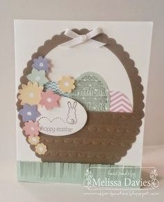 Use an oval Framelit and Scallops embossing folder to create a great Easter Basket!  Add your colorful eggs and flower - and don't forget the bunny! - and you have a handamde Easter card.