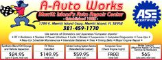 Discover Merritt Island offers to you A-Auto Works. Mention this add on Discover Merritt Island and get 10% off your purchase.