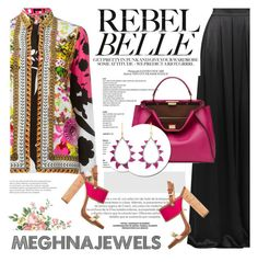"""MEGHNA JEWELS"" by defivirda ❤ liked on Polyvore featuring Versace, Matthew Williamson, Fendi and Dsquared2"