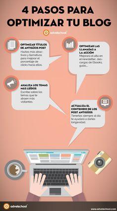 4 pasos para optimizar tu Blog #infografia #infographic #socialmedia