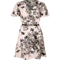 River Island Pink floral print belted wrap dress ($54) ❤ liked on Polyvore featuring dresses, pink, wrap front dress, short sleeve t shirt dress, t shirt dress, tee shirt dress and floral dress