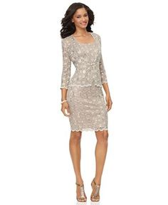 This is pretty.  I could do this.  A sheath dress and jacket, all is lace, dress is lined.  Just a sprinkling of sequins.  Champagne color.