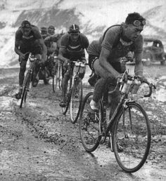 Croix-de-Fer, 1948 Tour de France. Louison Bobet leads Gino Bartali (striped cap) and André Brulé