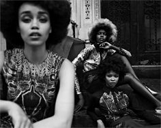 """Models Bettine MCabe, Grace Bol and Hollis Wakeema for Vogue Italia's """"Afro Look"""""""