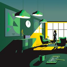 """Created for a property developer in London, illustrator Jack Daly has created a lovely and compelling series that showcase """"Essential Living"""" with a Landscape Illustration, Flat Illustration, Graphic Design Illustration, Digital Illustration, Graphic Art, Jack Daly, Graphic Design Lessons, Simple Colors, Illustrations Posters"""