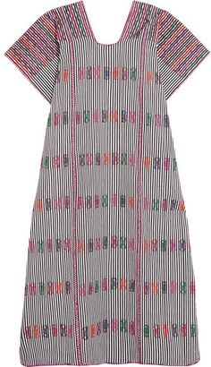 Embroidered Striped Cotton Kaftan - Purple Pippa Holt