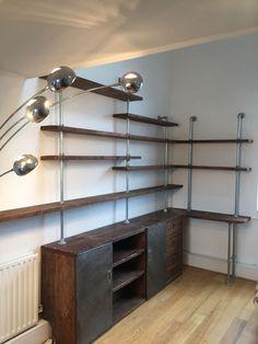 Caterina Scaffolding Board and Dark Steel Pipe Shelving Desk