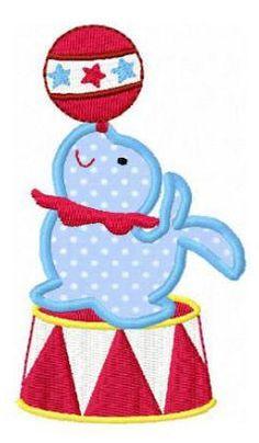 Circus Seal machine embroidery design applique. $3.50, via Etsy.
