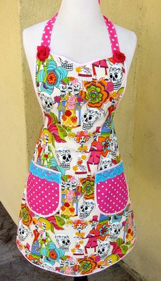 Day of the Dead Dia de los Muertos FULL APRON by vanessaandcompany