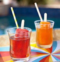 Popsicle cocktails! bre said she was thinking of a cocktail party - this looks fun and easy? I say straws instead of sticks though!