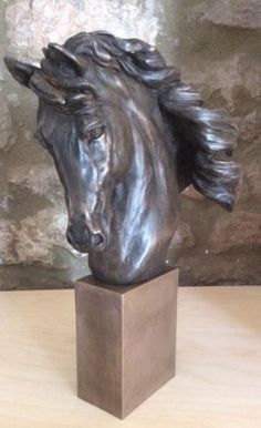 Bronze Resin #sculpture by #sculptor Laura Lian titled: 'Horse Head II (Bronze resin Horse Head Bust statuette statue)'. #LauraLian