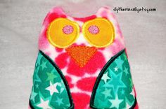 Plush Owl Rattle  Pink and Green by SlytherinSally on Etsy, $8.00