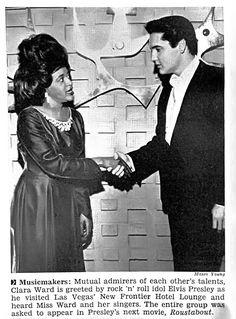 Elvis Presley Greets Clara Ward in Las Vegas - Jet Magazine, February 27, 1964