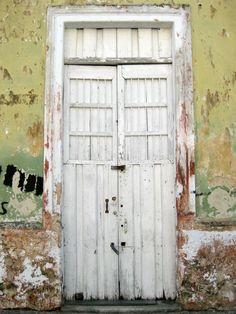 Merida White Weathered Door Mexico
