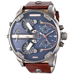 DIESEL DZ7314 GENTS BROWN CALFSKIN 66MM STAINLESS STEEL CASE CHRONOGRAPH WATCH
