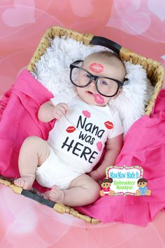 Nana Was Here Embroidered Baby Bodysuit Onesie by D84Designs