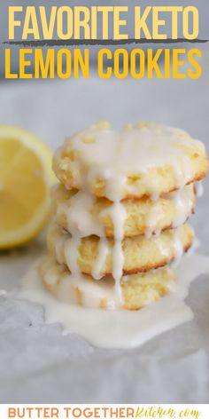 These keto lemon cookies from Butter Together Kitchen are soft and thick with a creamy icing! It is absolutely amazing these cookies can be sugar-free. This is the perfect summer cookie! These lemon cookies are so good this will be your favorite keto cookie recipe! #ketolemoncookies #lemoncookies #lowcarblemoncookies #sugarfreelemoncookies #ketocookies #ketodessert #keto #cookie