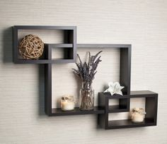 Intersecting Espresso Wall Shelf contemporary wall shelves