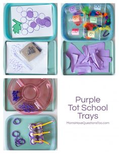 Purple Tot School Trays - Montessori inspired and lots of fun. Perfect for teaching colors!