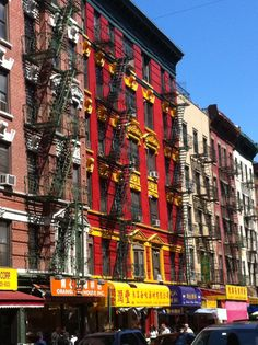 Building in Chinatown NYC  I think that i would really like to visit this neighborhood and see how people live there.