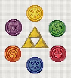 Legend of Zelda: Ocarina of Time Cross Stitch Six Medallions Pattern for Cross-Stitch