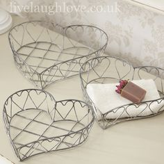 Set of 3 Flat Wirework Heart Baskets