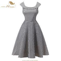 SISHION 2017 Plaid Summer Dress Women Plus Size Sleeveless Crew Neck Rockabilly Cotton Vintage Dress 425 50s Retro Party Gown