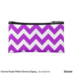 Custom Purple White Chevron Zigzag Line Pattern Makeup Bag