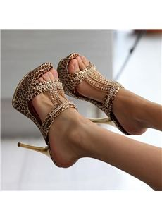 Luxurious Sexy Leopard Platform Slippers  with Rhinestone