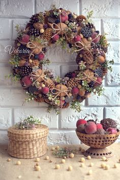 Cones Front Door Wreaths, Natural berry Wreath, Wall Decoration, Summer decor,  All year round, Farmhouse, Rustic, Boho, Dried flower