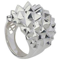 Stephen Webster Superstud Silver Studded Dome Ring ($395) ❤ liked on Polyvore