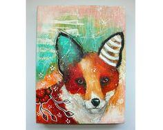 folk art Original fox painting mixed media art by thesecrethermit