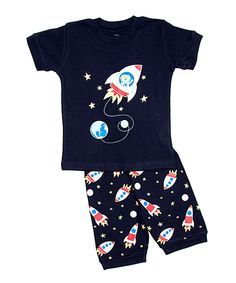 This Navy Rocket Pajama Set - Toddler & Boys by el-ow-el pajamas is perfect! #zulilyfinds