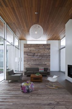 Partial wood floor goes up into wall. Wood ceiling. alfresco-california-home-with-rustic-wood-ceilings-3.jpg