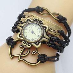 Women's Watch Flower Dial Heart Infinity Leather Weave Band - USD $ 6.99