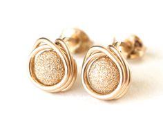 Gold Stardust Stud Post Earrings