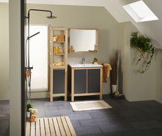 Set Mobila Baie Olivia - modern stejar | #Mobila Decor, Single Vanity, Room Divider, Vanity, Furniture, Modern, Home Decor, Settings, Room
