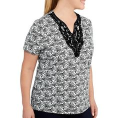 #walmart Faded Glory Women's Plus-Size Crochet Tee - $8 (save 20%) #fadedglory #clothing #womensplus