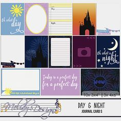 Day & Night | Journal Cards, Digital Scrapbooking Cards by Melidy Designs