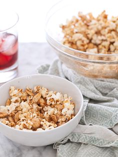 Sweet and Spicy Popcorn with Marcona Almonds || foodiecrush.com