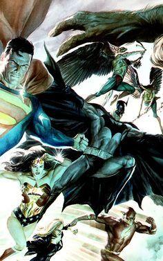 art batman comics Superman wonder woman flash justice league Black Canary Hawkgirl Alex Ross hawk man justice leage of america Dc Comics Heroes, Dc Comics Characters, Dc Comics Art, Batman Comics, Alex Ross, Justice League, Hq Dc, Hawkgirl, Martian Manhunter