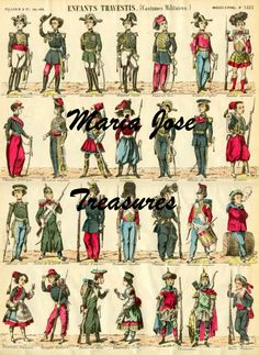 Vintage D'Epinal Pellerin Soldiers in uniform Paper Doll Cut Outs - Digital Download by MariaJoseTreasures on Etsy
