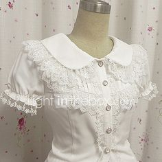 Blusa/Camisa Doce Princesa Cosplay Vestidos Lolita Branco Rendas Buffante Manga Curta Lolita Blusa Para de 2017 por R$79.71