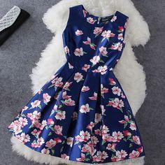 Blue Plum Flower Print Sleeveless Dress only $63.99 in ByGoods.com