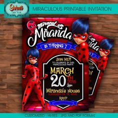 Miraculous personalized digital invitation by SweetCardsStore
