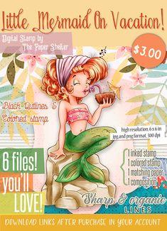 Little Mermaid On Vacation! - Digital Stamp