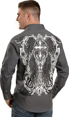 Love these types of shirts! Mens Cowboy Shirts, Western Shirts, Western Wear, Camisa Rock, Chemises Country, Casual Shirts For Men, Men Casual, Affliction Clothing, Cowboy Outfits