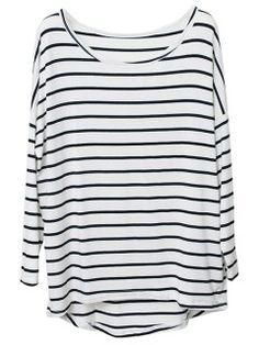 Shop Black Stripe T-shirt With Raglan sleeve from choies