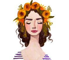 This is a print of my original watercolor of a lovely lady wearing a flower crown. She has statement lips and bold brows because thats whats on trend right now - but also timeless. Shes got gorgeous dark curls. The painting is painted entirely with only purple & yellow paint (those