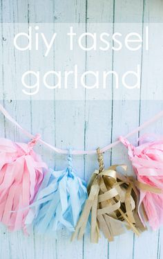 DIY Tissue Tassel Garland Tutorial - #DIY #partydecor #decor